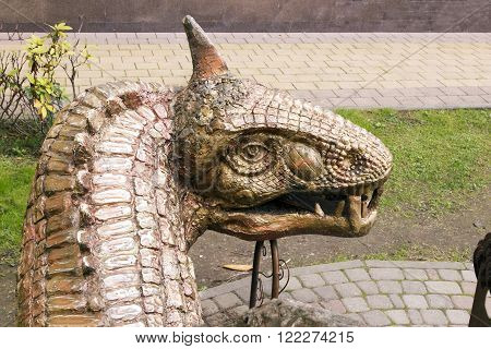 SOCHI, RUSSIA - November 05, 2015: A sculpture the head of a fantastic animal the Dragon, it is established about the hodozhestvenny museum of the city of Sochi, Russia