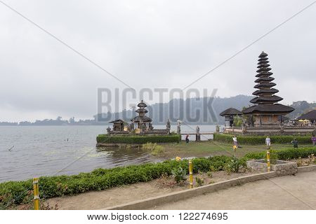 Bali, Indonesia - August 10, 2015: famous temple on the lake Tanah Loth during summer