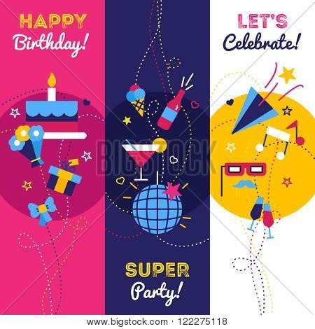 Celebration party and birthday banners with gifts petard bottle of champagne and cake with candles isolated vector illustration