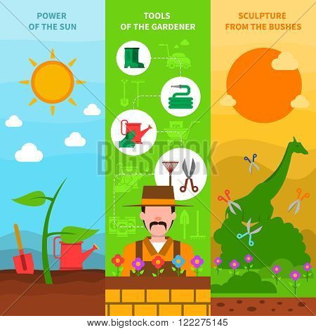 Gardening vertical banner set with plants cultivation elements flat isolated vector illustration