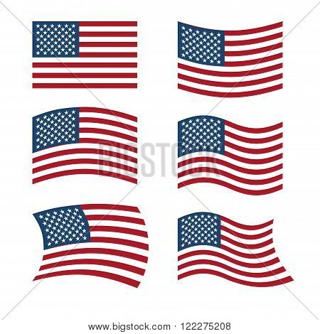 Flag Of Usa. Set Of Flags Of America In Various Shapes. American Flag On White Background. Evolving