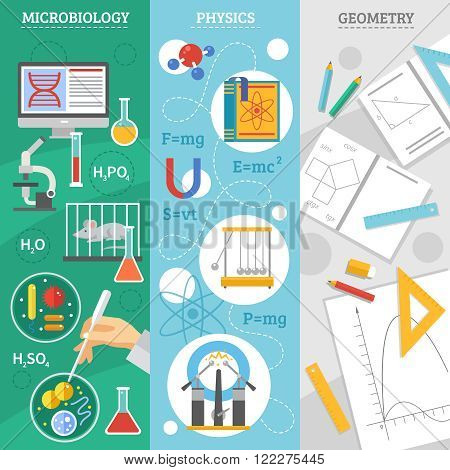 Exact science 3 flat vertical banners set with microbiology physics and geometry symbols abstract isolated vector illustration