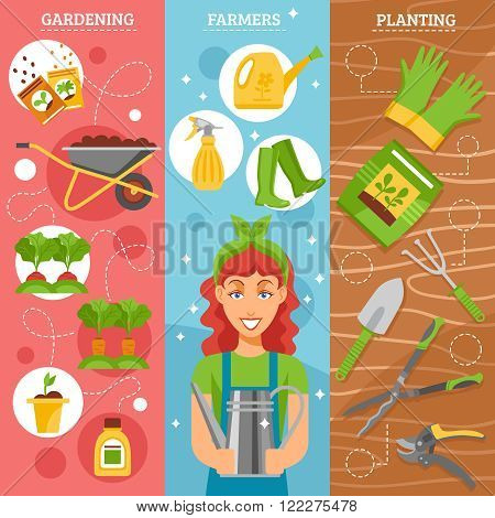 Season gardening 3 flat horizontal vertical set banners set with farmer wife holding watering pot abstract vector illustration