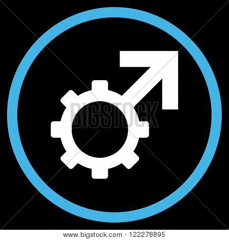 Technological Potence vector bicolor icon. Image style is a flat icon symbol inside a circle, blue and white colors, black background.