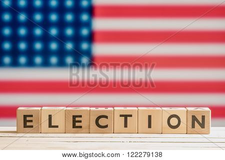 Election Sign With The American Flag