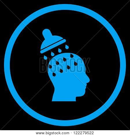 Brain Washing vector icon. Image style is a flat icon symbol inside a circle, blue color, black background.