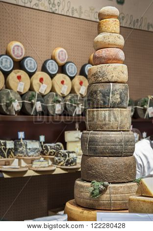 The pyramid of cheese wheels at the local fair