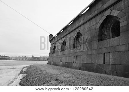 Bastion of Peter and Paul Fortress in St.Petersburg Russia. Black and white.