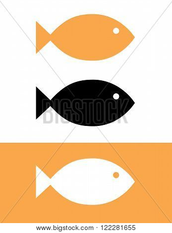 Vector Goldfish Set in Colour, Black and Reverse