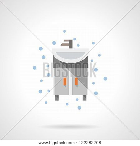 Bathroom washstand flat color vector icon