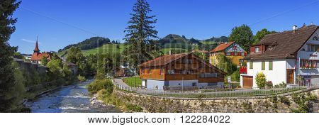 Appenzell landscape and houses by beautiful day, Switzerland