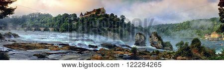 Famous big european Rhinefalls in Schaffhausen, Switzerland