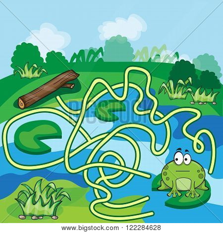 Frogs Maze Game - help the Frog to find his way - vector