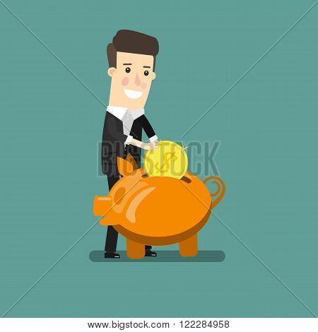 Businessman putting coin into piggy bank. Flat design business concept illustration.
