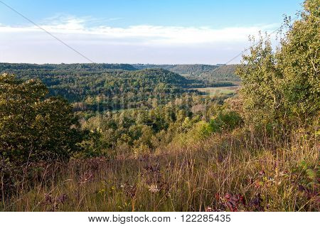 inside morgan coulee state natural area atop bluffs overlooking rush river valley outside maiden rock wisconsin