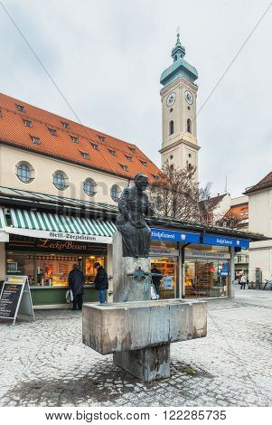 Germany, Munich - MAR 12 : Fountain Elise-Aulinger on March 12, 2012 in Munich, Germany.