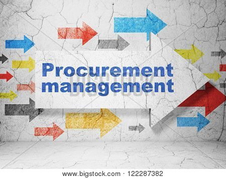 Business concept: arrow with Procurement Management on grunge wall background