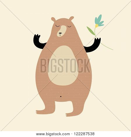 Retro style vector illustration with cute bear holding a flower for prints, posters, t-shirts, books, covers, cards, invitations and flyers. Vintage sweet bear card. Creative animal character concept.