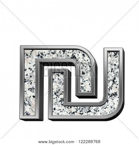 Sheqel sign from granite with silver frame alphabet set isolated over white. Computer generated 3D photo rendering.