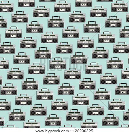 old tape recorder creative vector seamless pattern, vector background, vector illustration