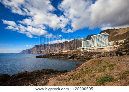 Summer seascape on tropical island Tenerife, Canary in Spain. Los Gigantes view on atlantic ocean