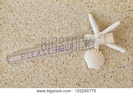 Message in a bottle style with cork lid and wordings Please Help inside on a sandy beach with white starfish and seashell