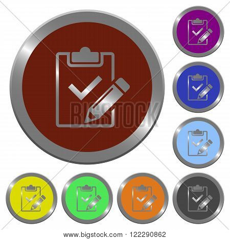 Set of color glossy coin-like fill out checklist buttons.