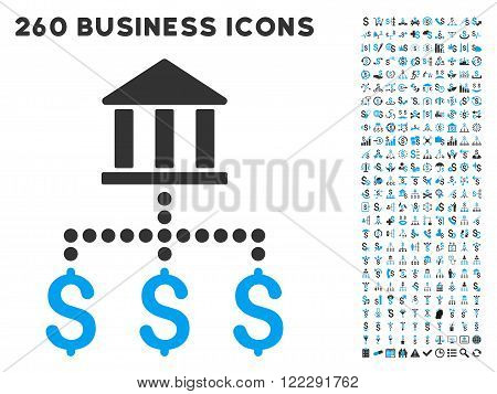 Bank Payments icon within 260 vector business pictogram set. Style is bicolor flat symbols, light blue and gray colors, white background.