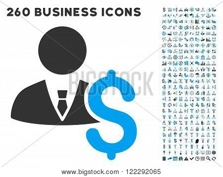 Banker icon within 260 vector business pictogram set. Style is bicolor flat symbols, light blue and gray colors, white background.