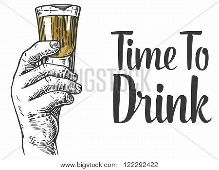 Hand drawn design element.Vintage vector engraving illustration for label, poster, invitation to a party. Time to drink.