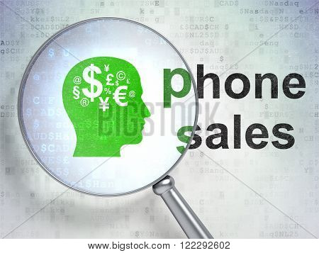 Advertising concept: Head With Finance Symbol and Phone Sales with optical glass