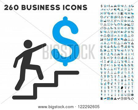 Business Stairs icon within 260 vector business pictogram set. Style is bicolor flat symbols, light blue and gray colors, white background.