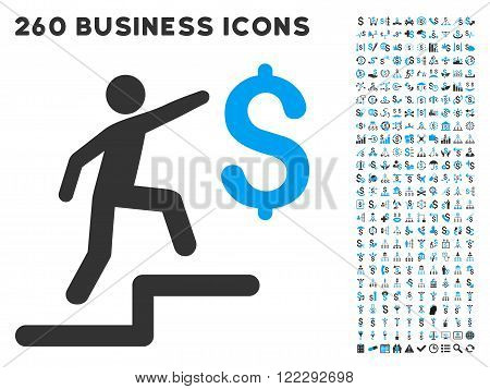 Business Steps icon within 260 vector business pictogram set. Style is bicolor flat symbols, light blue and gray colors, white background.