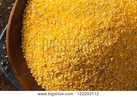 Raw Organic Polenta Corn Meal in a Bowl