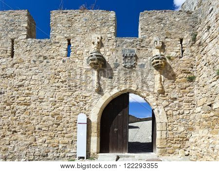 View of the ogival arch of the portal to the medieval castle of Torres Vedras Portugal