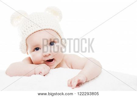 Cute baby on white background.Close up headshot of a caucasian baby boy,four months old baby l