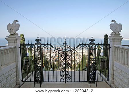 HAIFA ISRAEL - MARCH 01 2016: Gate to the Bahai gardens on Mount Carmel