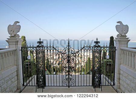 HAIFA ISRAEL - MARCH 01 2016: Gate to the Bahai gardens on Mount Carmel