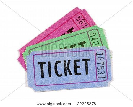 Several movie or raffle tickets close up white background