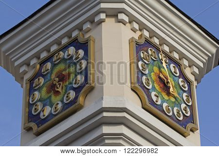 Clock tower of Kiev Academic Puppet Theater in Kiev, Ukraine