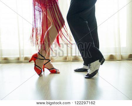 Couple dancing swing dancing. Man and woman