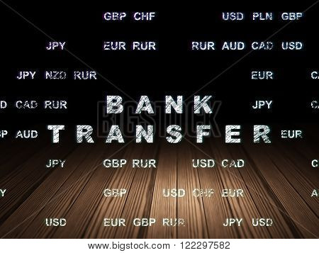 Money concept: Bank Transfer in grunge dark room