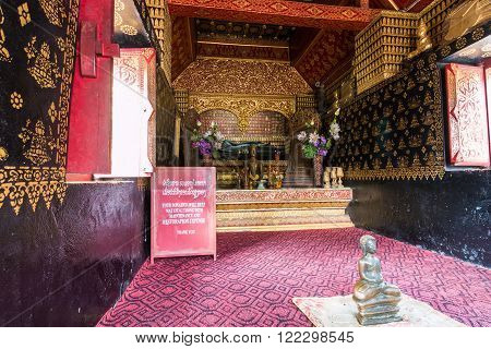 Luang Prabang, Laos - Oct 27 2015:Wat Xieng Thong Buddhist temple in Luang Prabang World Heritage Laos