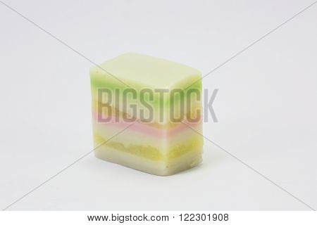 Rice layer cake Colorful Kuih Lapis sweet desert  on white background