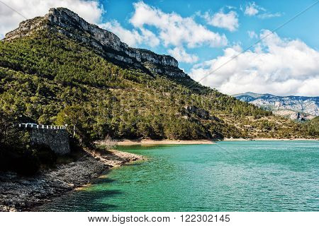 View of the Ulldecona reservoir. Valencian Community Spain