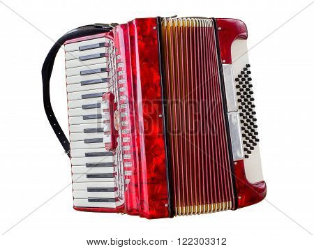 Red old accordion isolated on white background