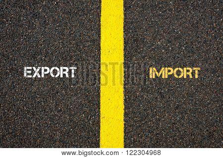 Antonym Concept Of Export Versus Import