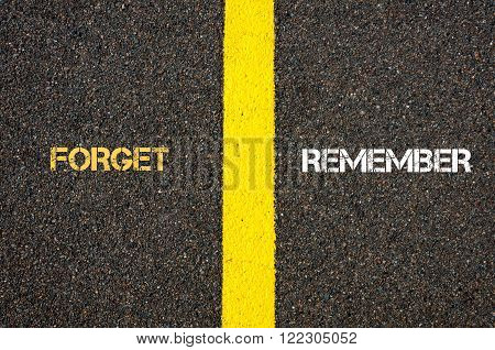 Antonym Concept Of Forget Versus Remember