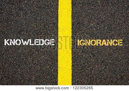 Antonym Concept Of Knowledge Versus Ignorance