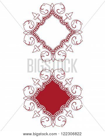 Vector Burgundy Ornate Frame and Border Set